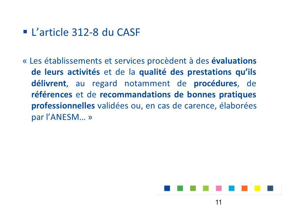  L'article 312-8 du CASF « Les établissements et services procèdent à des évaluations de leurs activités et de la qualité des prestations qu'ils délivrent, au regard notamment de procédures, de références et de recommandations de bonnes pratiques professionnelles validées ou, en cas de carence, élaborées par l'ANESM… » 11