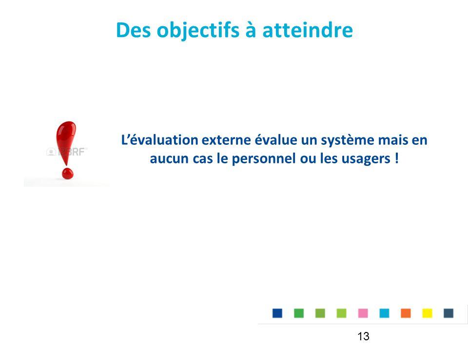 Des objectifs à atteindre 13 L'évaluation externe évalue un système mais en aucun cas le personnel ou les usagers !