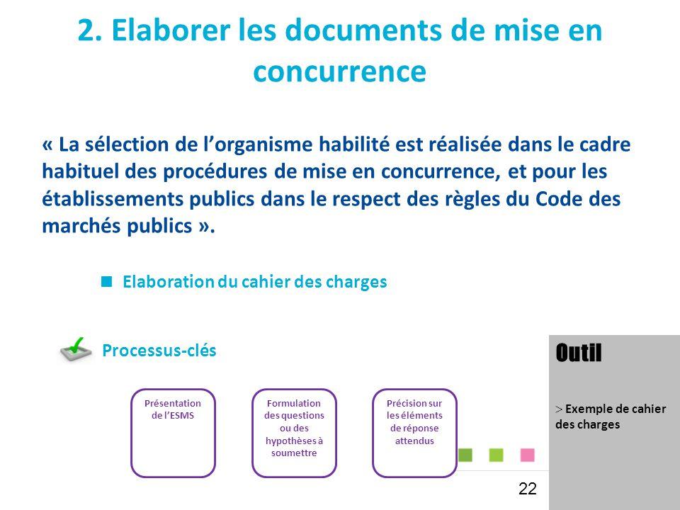 2. Elaborer les documents de mise en concurrence « La sélection de l'organisme habilité est réalisée dans le cadre habituel des procédures de mise en