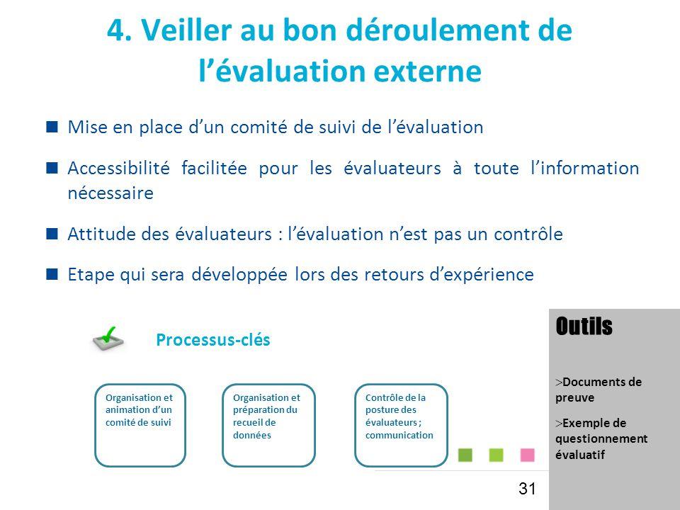 4. Veiller au bon déroulement de l'évaluation externe  Mise en place d'un comité de suivi de l'évaluation  Accessibilité facilitée pour les évaluate