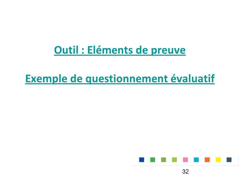 Outil : Eléments de preuve Exemple de questionnement évaluatif 32