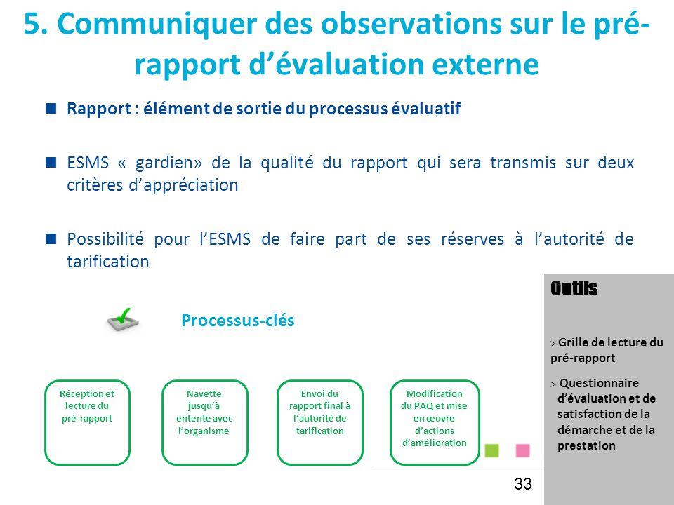 5. Communiquer des observations sur le pré- rapport d'évaluation externe  Rapport : élément de sortie du processus évaluatif  ESMS « gardien» de la