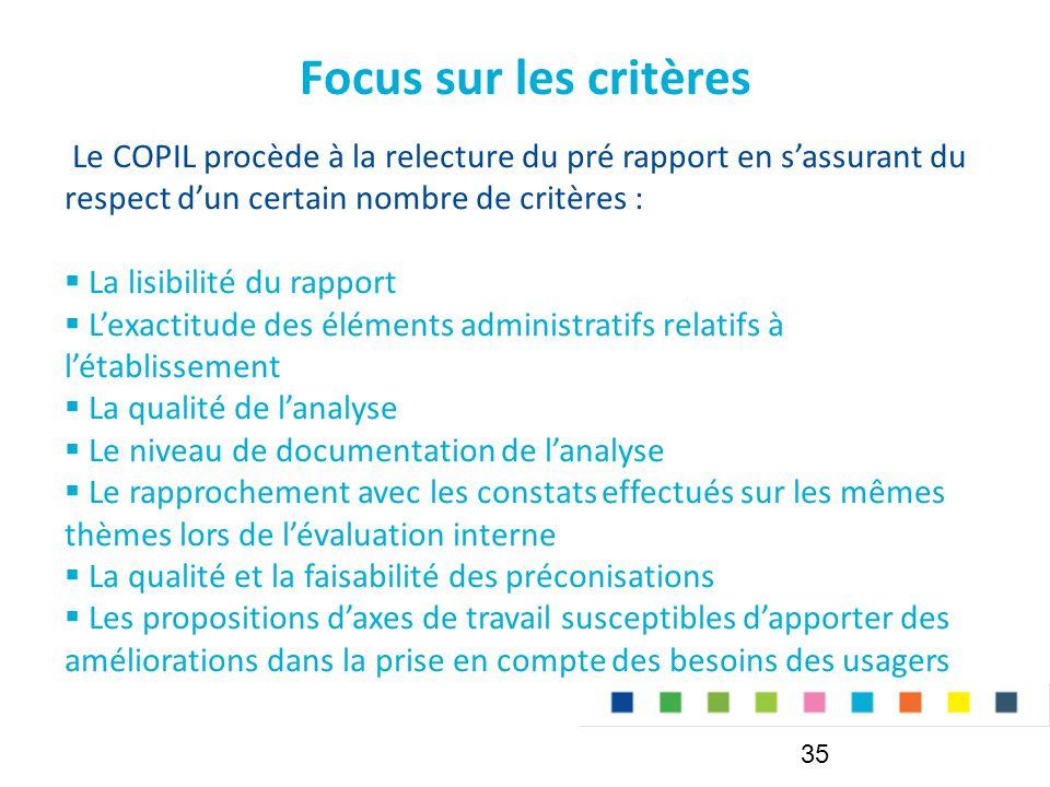 Focus sur les critères Le COPIL procède à la relecture du pré rapport en s'assurant du respect d'un certain nombre de critères :  La lisibilité du rapport  L'exactitude des éléments administratifs relatifs à l'établissement  La qualité de l'analyse  Le niveau de documentation de l'analyse  Le rapprochement avec les constats effectués sur les mêmes thèmes lors de l'évaluation interne  La qualité et la faisabilité des préconisations  Les propositions d'axes de travail susceptibles d'apporter des améliorations dans la prise en compte des besoins des usagers 35