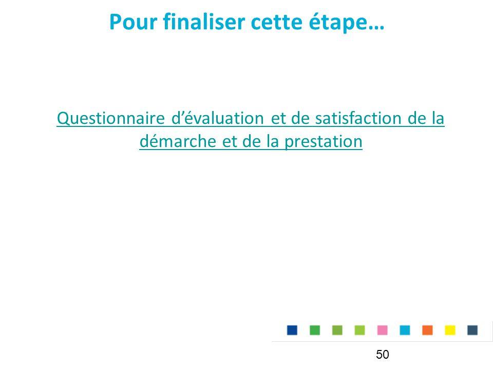 Pour finaliser cette étape… 50 Questionnaire d'évaluation et de satisfaction de la démarche et de la prestation