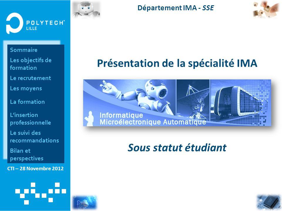 CTI – 28 Novembre 2012 Département IMA - SSE Présentation de la spécialité IMA Sous statut étudiant