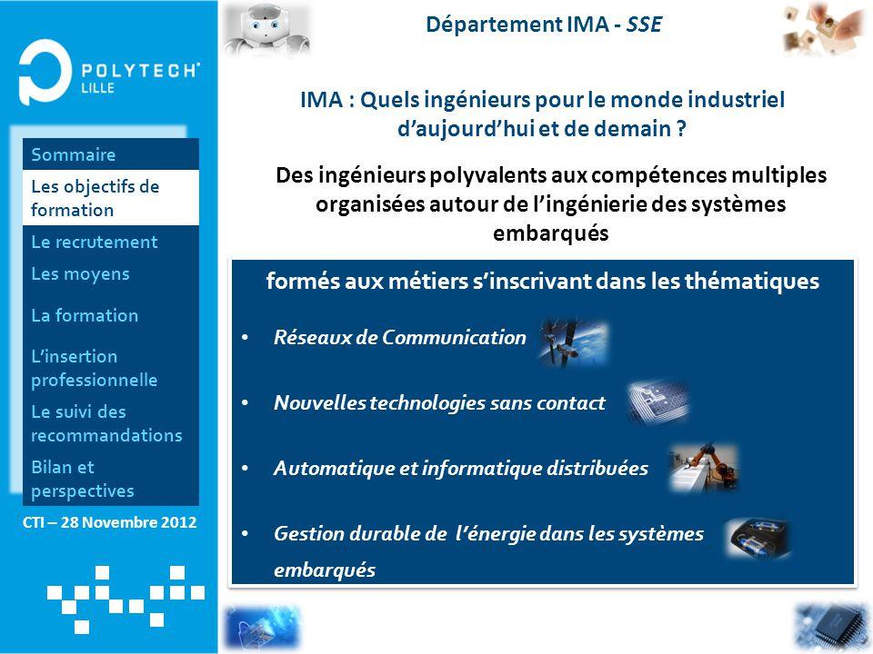 CTI – 28 Novembre 2012 Département IMA - SSE IMA : Quels ingénieurs pour le monde industriel d'aujourd'hui et de demain ? Des ingénieurs polyvalents a