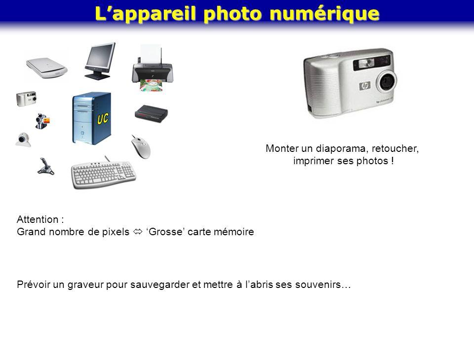 L'appareil photo numérique Monter un diaporama, retoucher, imprimer ses photos ! Attention : Grand nombre de pixels  'Grosse' carte mémoire Prévoir u