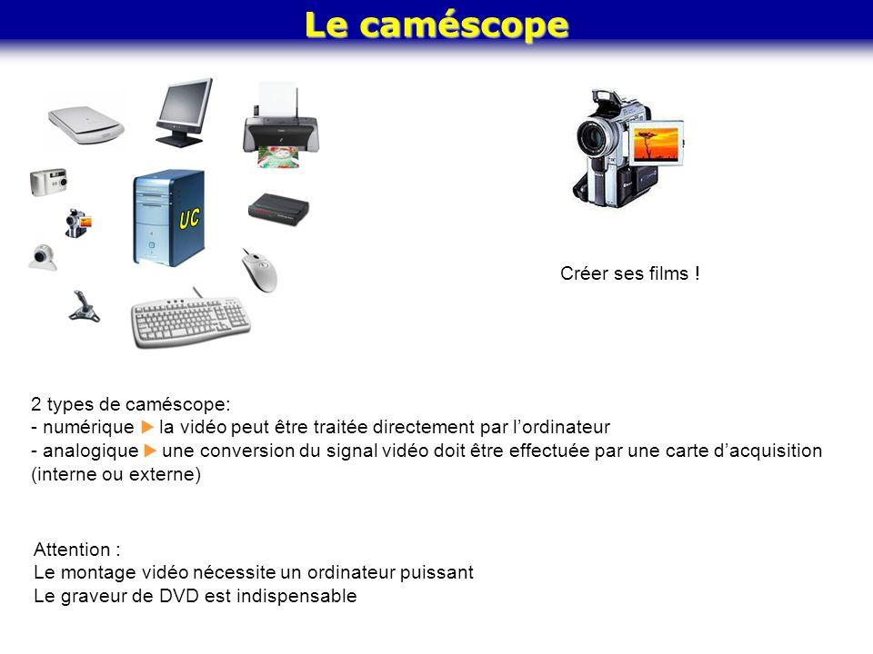 Le caméscope Créer ses films ! 2 types de caméscope: - numérique  la vidéo peut être traitée directement par l'ordinateur - analogique  une conversi