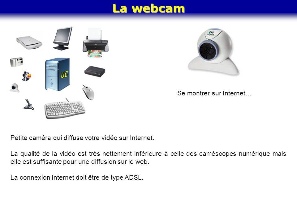 La webcam Se montrer sur Internet… Petite caméra qui diffuse votre vidéo sur Internet. La qualité de la vidéo est très nettement inférieure à celle de