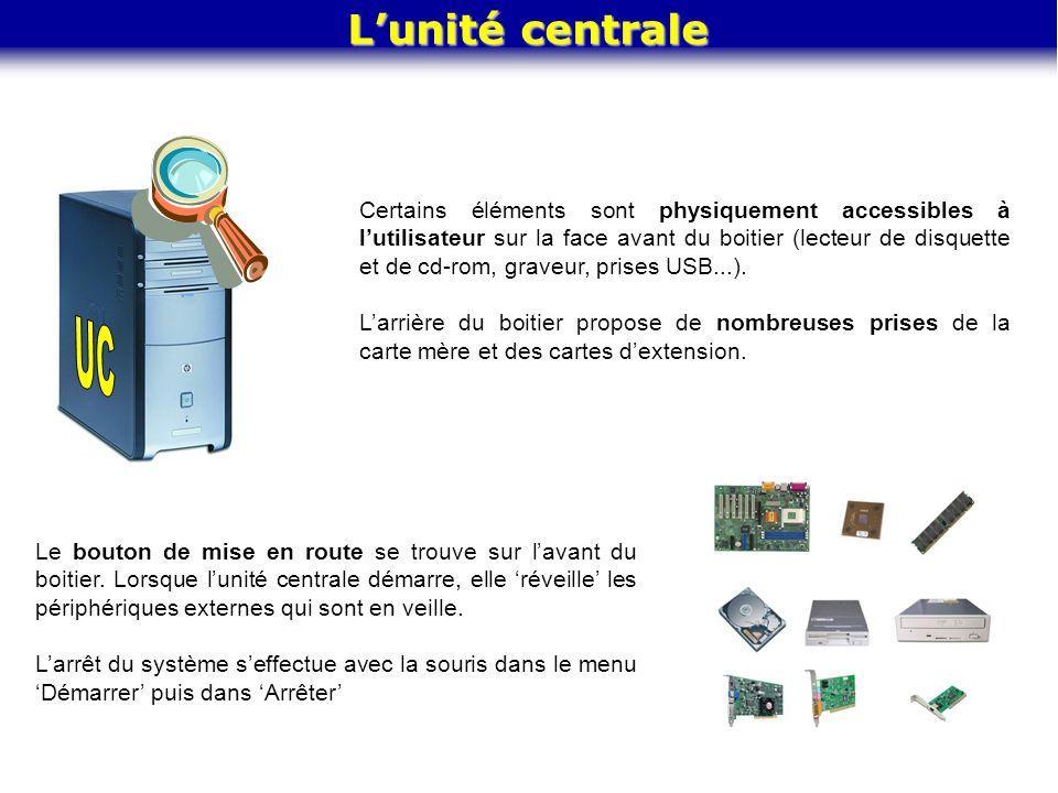 L'unité centrale Certains éléments sont physiquement accessibles à l'utilisateur sur la face avant du boitier (lecteur de disquette et de cd-rom, grav