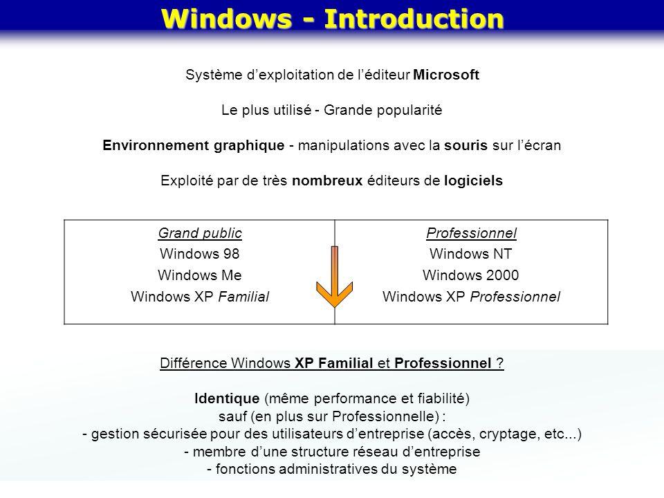 Windows - Introduction Différence Windows XP Familial et Professionnel ? Identique (même performance et fiabilité) sauf (en plus sur Professionnelle)