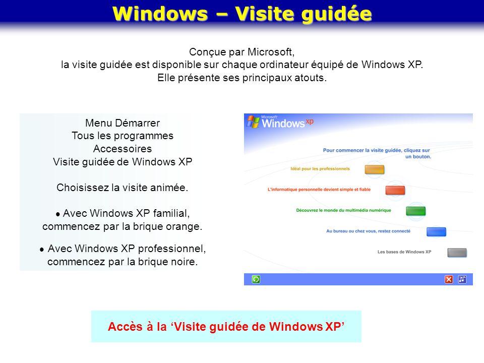 Windows – Visite guidée Accès à la 'Visite guidée de Windows XP' Menu Démarrer Tous les programmes Accessoires Visite guidée de Windows XP Choisissez
