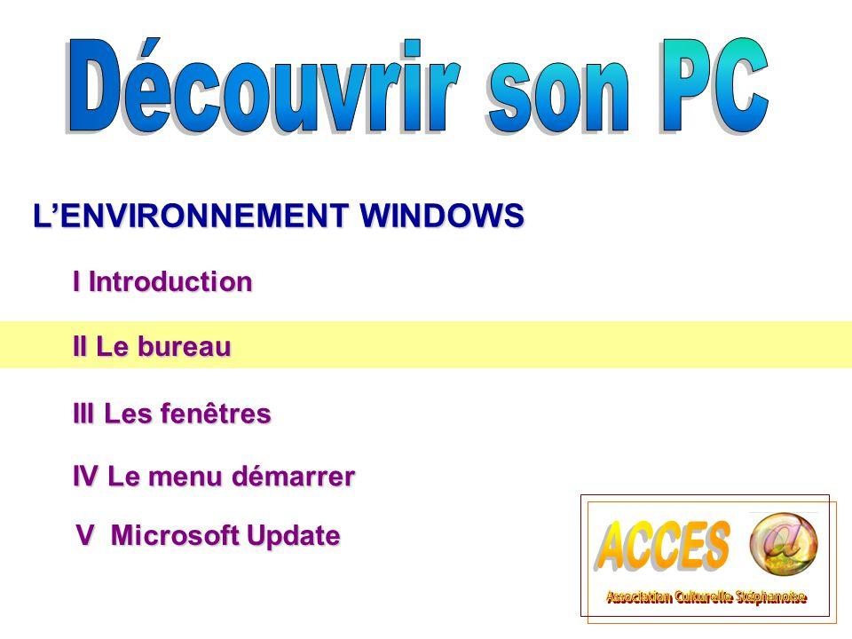 II Le bureau II Le bureau L'ENVIRONNEMENT WINDOWS III Les fenêtres III Les fenêtres  Titre 3 I Introduction IV Le menu démarrer IV Le menu démarrer V