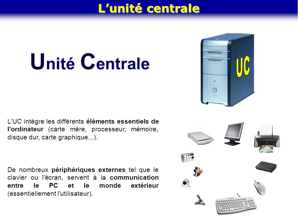 U nité C entrale L'unité centrale L'UC intègre les différents éléments essentiels de l'ordinateur (carte mère, processeur, mémoire, disque dur, carte