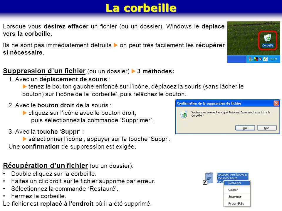 La corbeille Lorsque vous désirez effacer un fichier (ou un dossier), Windows le déplace vers la corbeille. Ils ne sont pas immédiatement détruits  o
