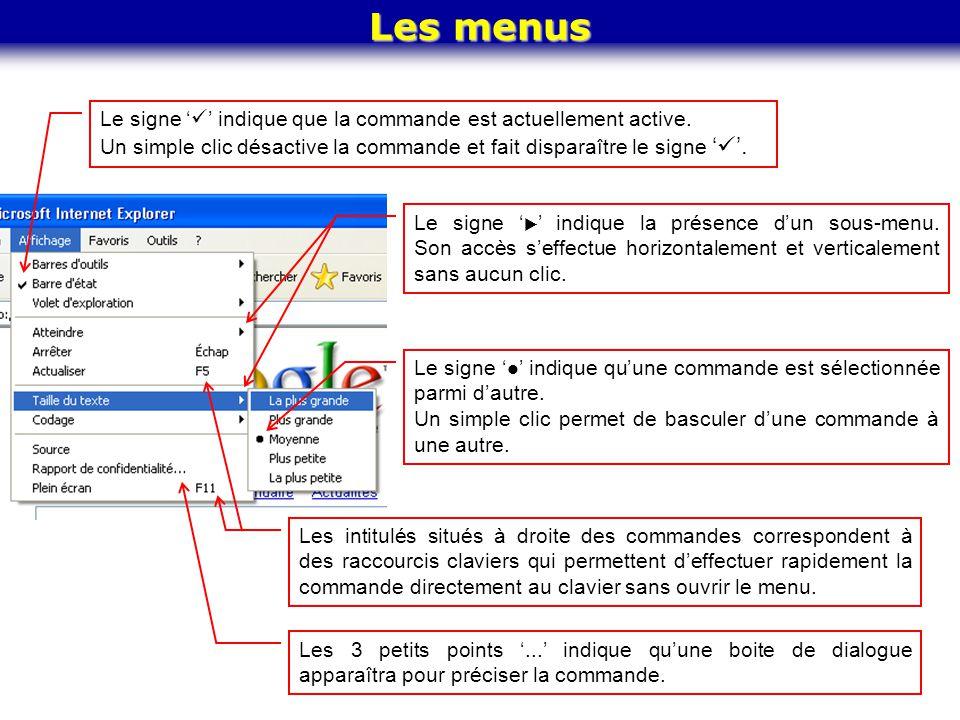 Les menus Le signe ' ' indique que la commande est actuellement active. Un simple clic désactive la commande et fait disparaître le signe ' '. Le sign