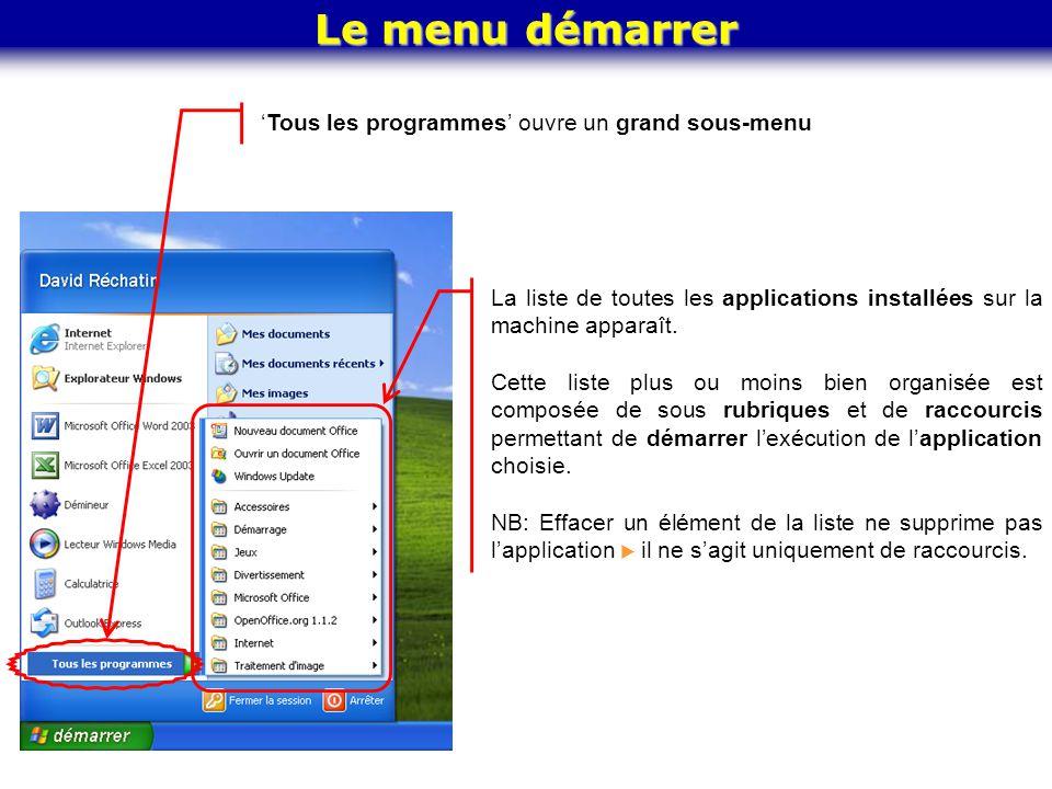 Le menu démarrer La liste de toutes les applications installées sur la machine apparaît. Cette liste plus ou moins bien organisée est composée de sous