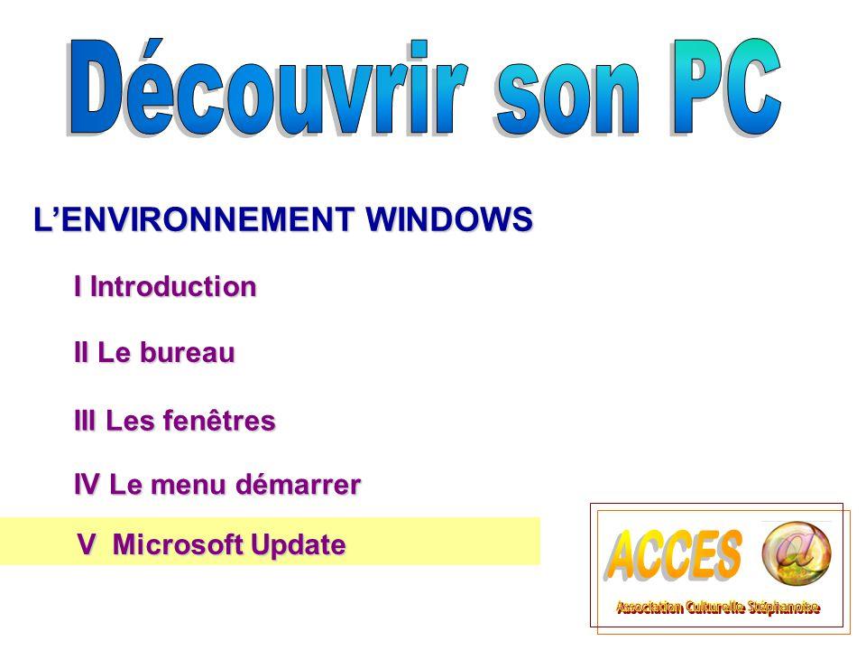II Le bureau II Le bureau L'ENVIRONNEMENT WINDOWS III Les fenêtres III Les fenêtres I Introduction IV Le menu démarrer IV Le menu démarrer V Microsoft