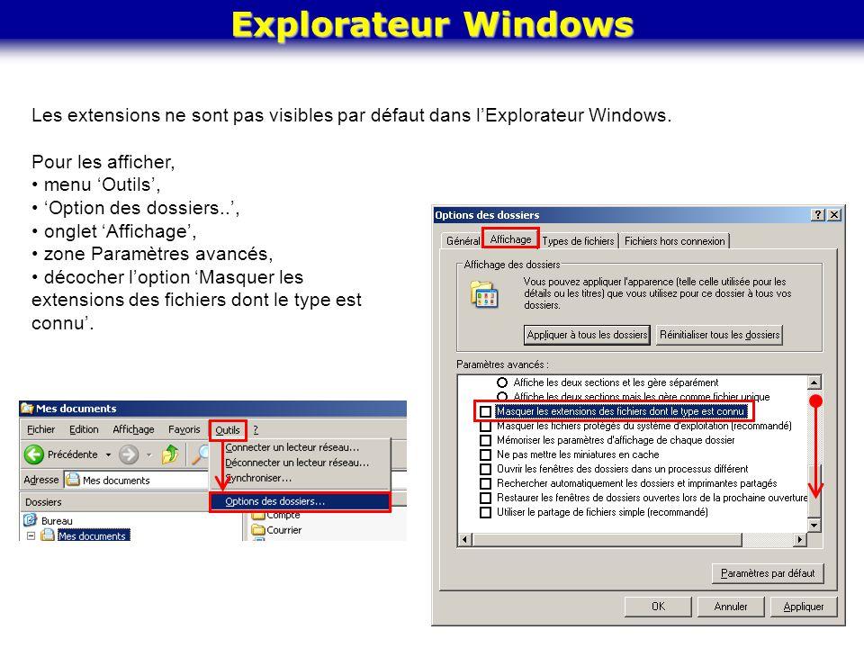 Explorateur Windows Les extensions ne sont pas visibles par défaut dans l'Explorateur Windows. Pour les afficher, menu 'Outils', 'Option des dossiers.