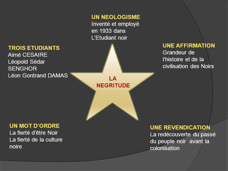 TROIS ETUDIANTS Aimé CESAIRE Léopold Sédar SENGHOR Léon Gontrand DAMAS UN NEOLOGISME Inventé et employé en 1933 dans L'Etudiant noir UNE AFFIRMATION Grandeur de l'histoire et de la civilisation des Noirs UN MOT D'ORDRE La fierté d'être Noir La fierté de la culture noire UNE REVENDICATION La redécouverte du passé du peuple noir avant la colonisation LA NEGRITUDE
