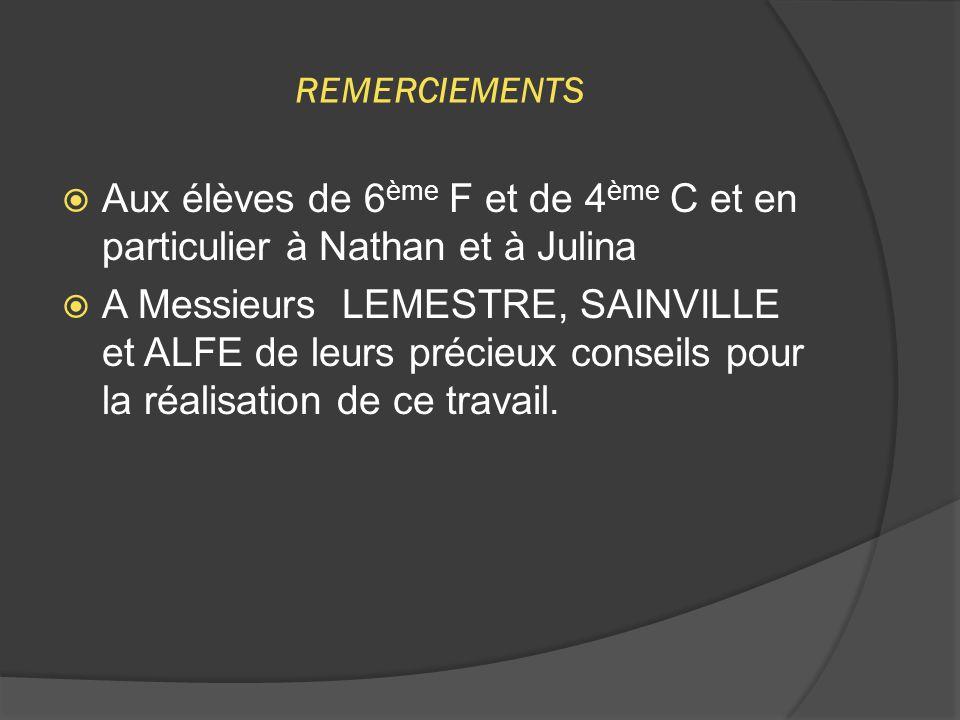 REMERCIEMENTS  Aux élèves de 6 ème F et de 4 ème C et en particulier à Nathan et à Julina  A Messieurs LEMESTRE, SAINVILLE et ALFE de leurs précieux