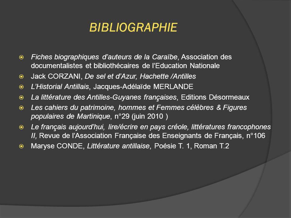 BIBLIOGRAPHIE  Fiches biographiques d'auteurs de la Caraïbe, Association des documentalistes et bibliothécaires de l'Education Nationale  Jack CORZA