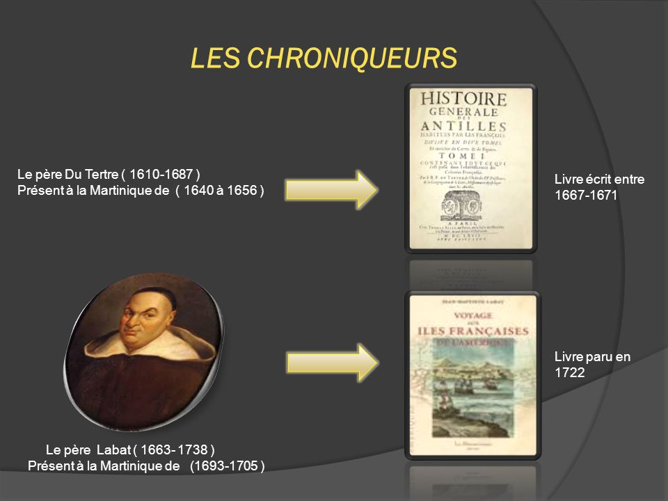 LES CHRONIQUEURS Le père Labat ( 1663- 1738 ) Présent à la Martinique de (1693-1705 ) Le père Du Tertre ( 1610-1687 ) Présent à la Martinique de ( 1640 à 1656 ) Livre paru en 1722 Livre écrit entre 1667-1671