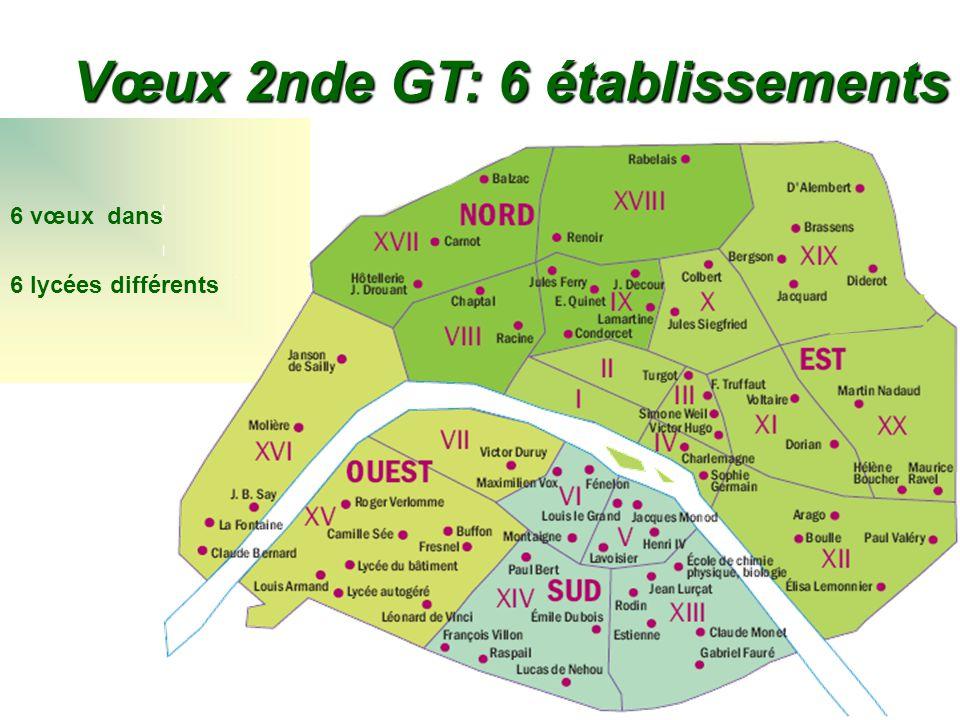 6 vœux dans 6 lycées différents Vœux 2nde GT: 6 établissements