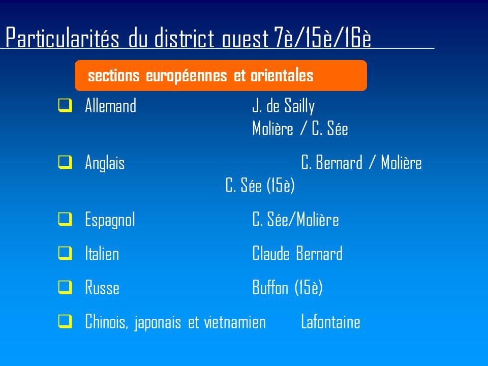 Particularités du district ouest 7è/15è/16è sections européennes et orientales  AllemandJ. de Sailly Molière / C. Sée  AnglaisC. Bernard / Molière C