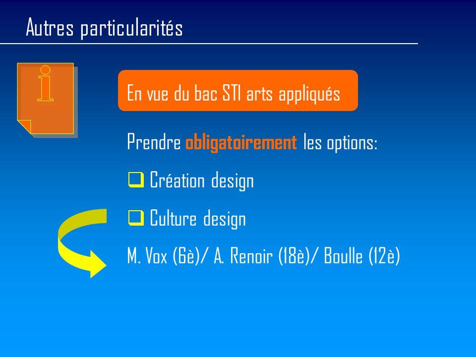 Autres particularités En vue du bac STI arts appliqués Prendre obligatoirement les options:  Création design  Culture design M. Vox (6è)/ A. Renoir