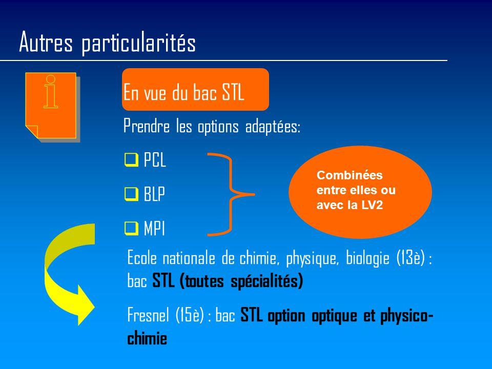 Autres particularités En vue du bac STL Prendre les options adaptées:  PCL  BLP  MPI Ecole nationale de chimie, physique, biologie (13è) : bac STL (toutes spécialités) Fresnel (15è) : bac STL option optique et physico- chimie Combinées entre elles ou avec la LV2