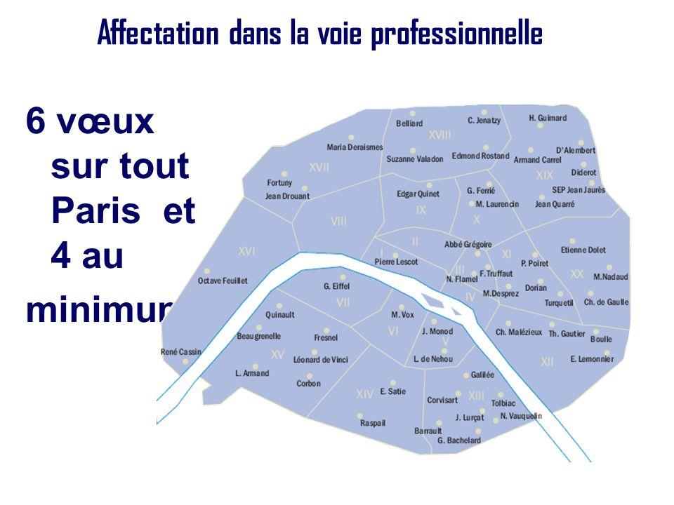 Affectation dans la voie professionnelle 6 vœux sur tout Paris et 4 au minimum