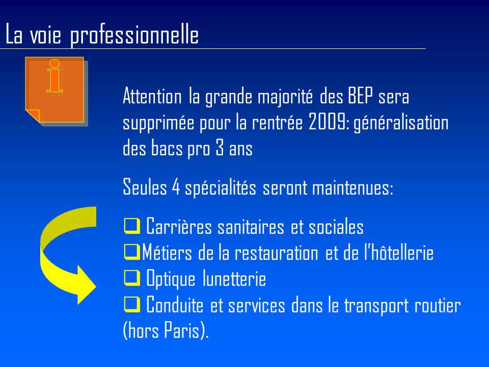 Attention la grande majorité des BEP sera supprimée pour la rentrée 2009: généralisation des bacs pro 3 ans Seules 4 spécialités seront maintenues:  Carrières sanitaires et sociales  Métiers de la restauration et de l'hôtellerie  Optique lunetterie  Conduite et services dans le transport routier (hors Paris).