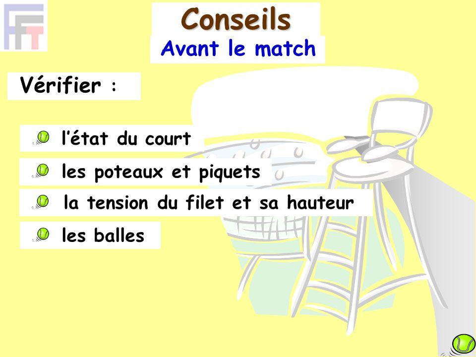 Avant le match Vérifier : l'état du court Conseils la tension du filet et sa hauteur les poteaux et piquets les balles
