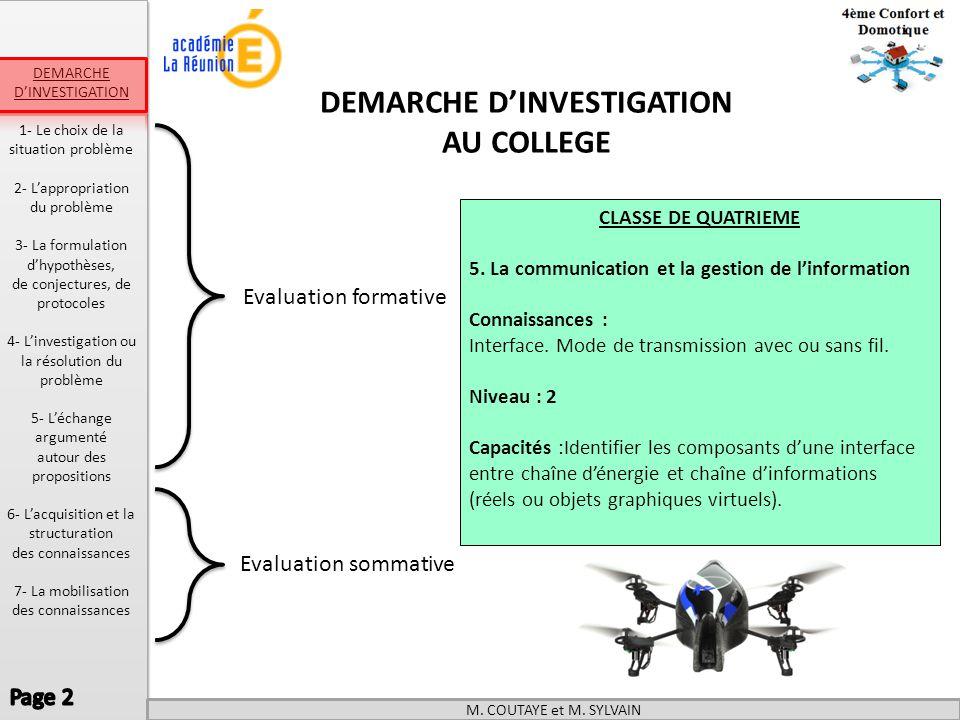 DEMARCHE D'INVESTIGATION 1- Le choix de la situation problème 2- L'appropriation du problème 3- La formulation d'hypothèses, de conjectures, de protocoles 4- L'investigation ou la résolution du problème 5- L'échange argumenté autour des propositions 6- L'acquisition et la structuration des connaissances 7- La mobilisation des connaissances DEMARCHE D'INVESTIGATION 1- Le choix de la situation problème 2- L'appropriation du problème 3- La formulation d'hypothèses, de conjectures, de protocoles 4- L'investigation ou la résolution du problème 5- L'échange argumenté autour des propositions 6- L'acquisition et la structuration des connaissances 7- La mobilisation des connaissances M.