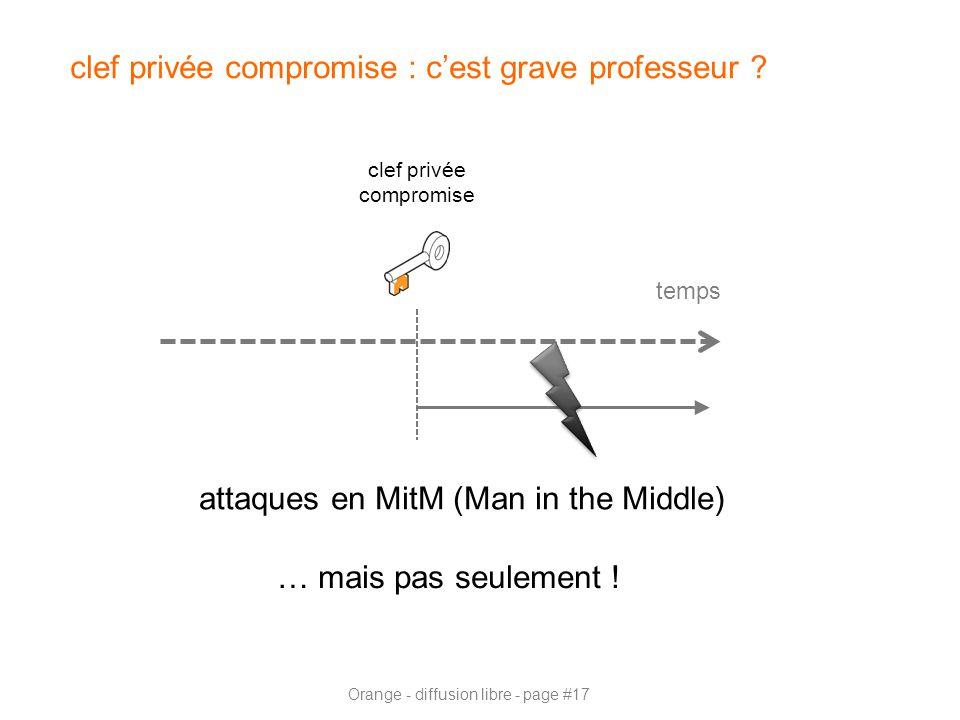 Orange - diffusion libre - page #17 clef privée compromise : c'est grave professeur ? temps clef privée compromise … mais pas seulement ! attaques en