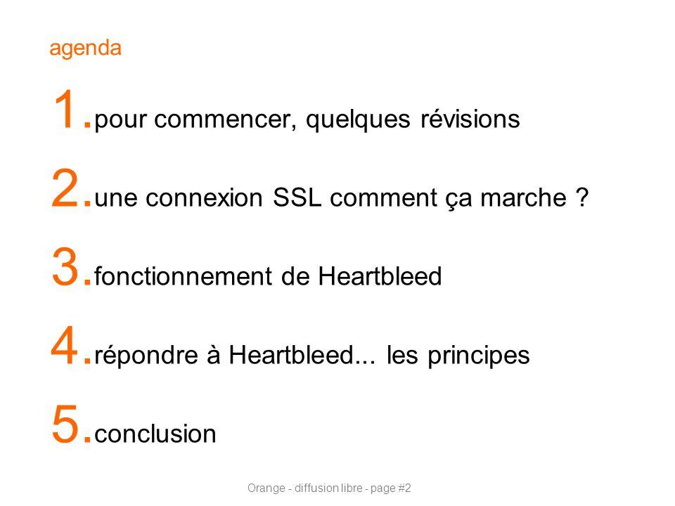 Orange - diffusion libre - page #2 agenda 1. pour commencer, quelques révisions 2. une connexion SSL comment ça marche ? 3. fonctionnement de Heartble