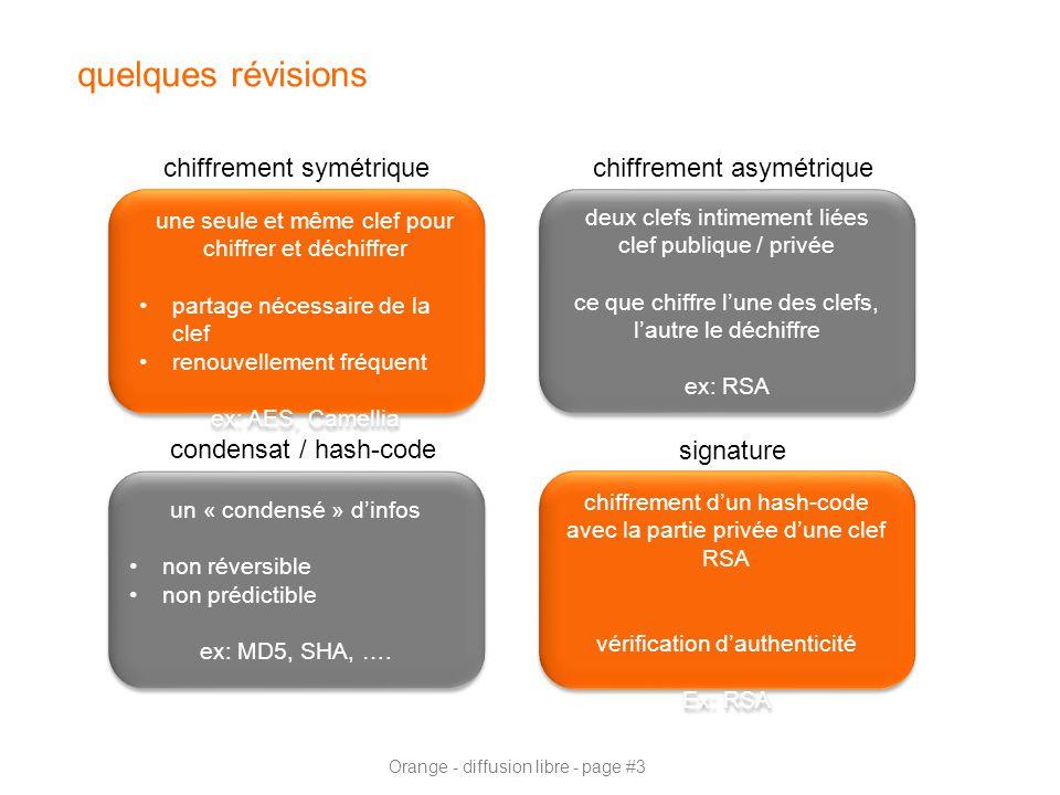 Orange - diffusion libre - page #3 quelques révisions une seule et même clef pour chiffrer et déchiffrer partage nécessaire de la clef renouvellement