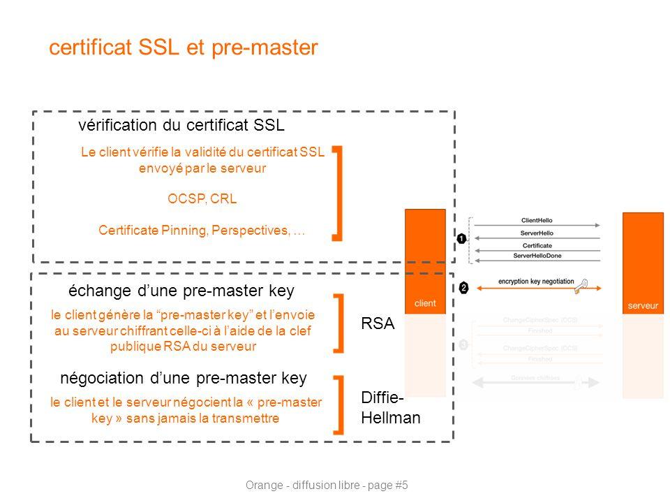 Orange - diffusion libre - page #5 certificat SSL et pre-master vérification du certificat SSL Le client vérifie la validité du certificat SSL envoyé par le serveur OCSP, CRL Certificate Pinning, Perspectives, … échange d'une pre-master key le client génère la pre-master key et l'envoie au serveur chiffrant celle-ci à l'aide de la clef publique RSA du serveur négociation d'une pre-master key le client et le serveur négocient la « pre-master key » sans jamais la transmettre Diffie- Hellman RSA