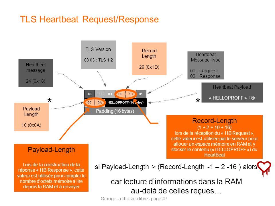 Orange - diffusion libre - page #7 TLS Heartbeat Request/Response HELLOPROFF (10 bytes) Padding (16 bytes) 18 Heartbeat message 24 (0x18) Record Length 29 (0x1D) TLS Version 03 03 : TLS 1.2 Heartbeat Message Type 01 – Request 02 - Response Payload Length 10 (0x0A) 001D 03 01 000A Record-Length (1 + 2 + 10 + 16) lors de la réception du « HB Request », cette valeur est utilisée par le serveur pour allouer un espace mémoire en RAM et y stocker le contenu (« HELLOPROFF ») du HeartBeat Payload-Length Lors de la construction de la réponse « HB Response », cette valeur est utilisée pour compter le nombre d'octets mémoire à lire depuis la RAM et à envoyer si Payload-Length > (Record-Length -1 – 2 -16 ) alors car lecture d'informations dans la RAM au-delà de celles reçues… Heartbeat Payload « HELLOPROFF » .