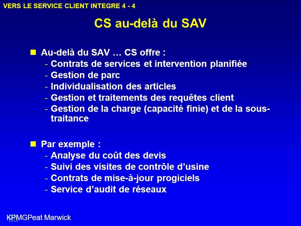 CS au-delà du SAV Au-delà du SAV … CS offre : -Contrats de services et intervention planifiée -Gestion de parc -Individualisation des articles -Gestio