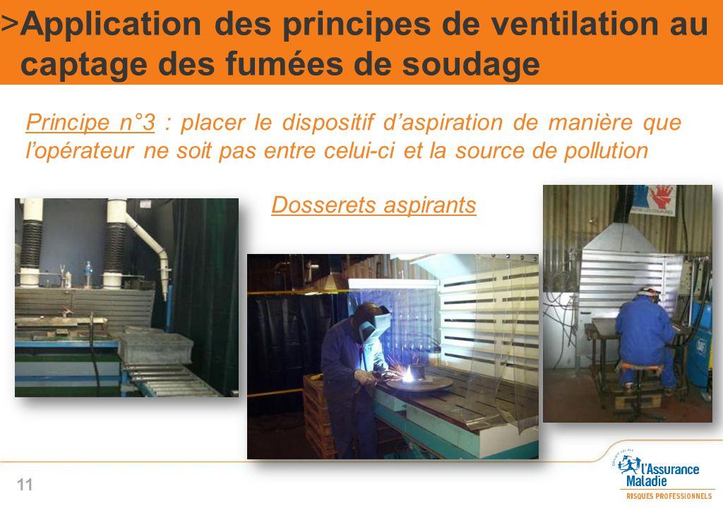 Dosserets aspirants >Application des principes de ventilation au captage des fumées de soudage 11 Principe n°3 : placer le dispositif d'aspiration de