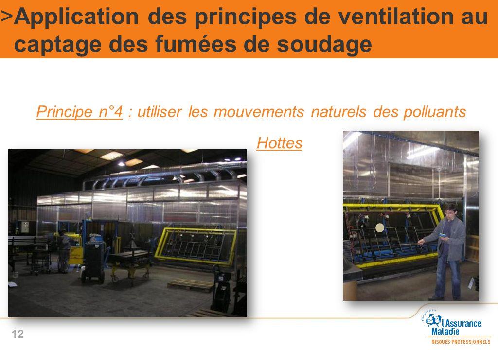 Principe n°4 : utiliser les mouvements naturels des polluants >Application des principes de ventilation au captage des fumées de soudage 12 Hottes