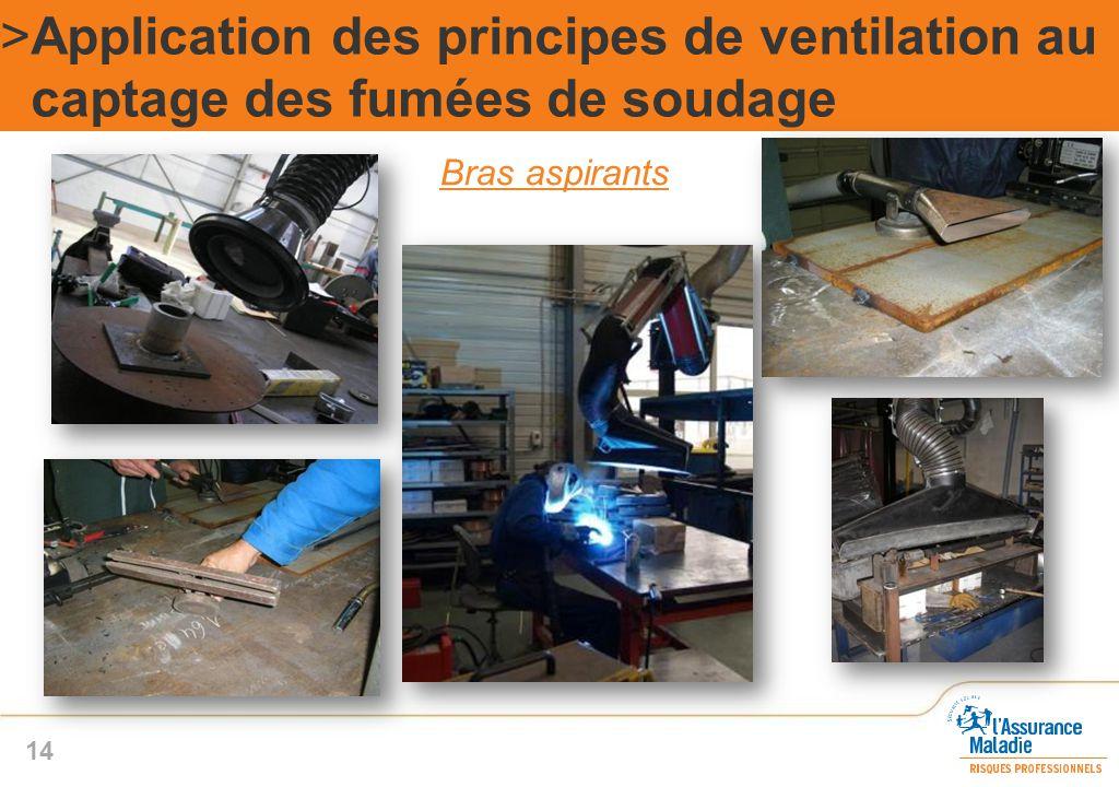 Bras aspirants >Application des principes de ventilation au captage des fumées de soudage 14
