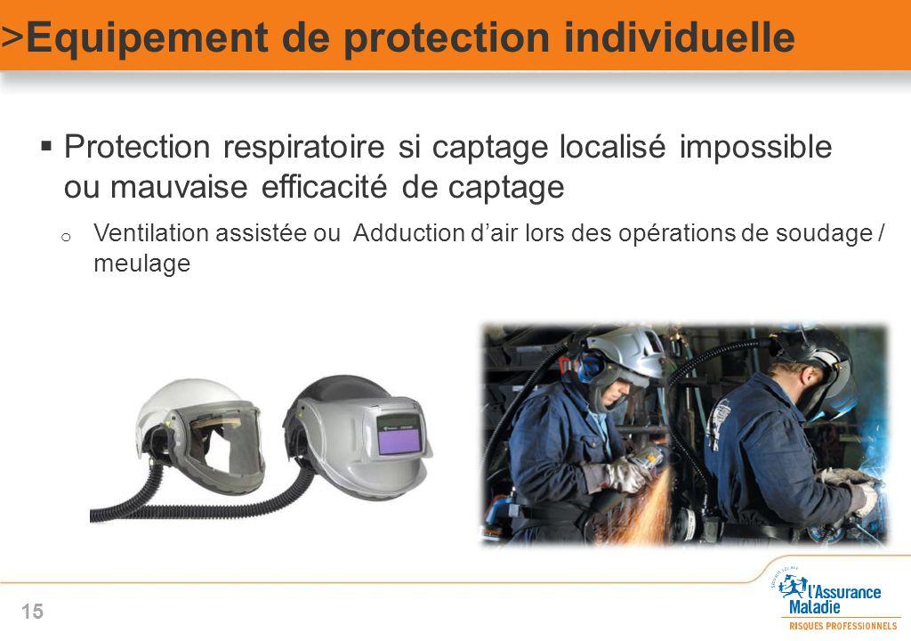  Protection respiratoire si captage localisé impossible ou mauvaise efficacité de captage o Ventilation assistée ou Adduction d'air lors des opératio