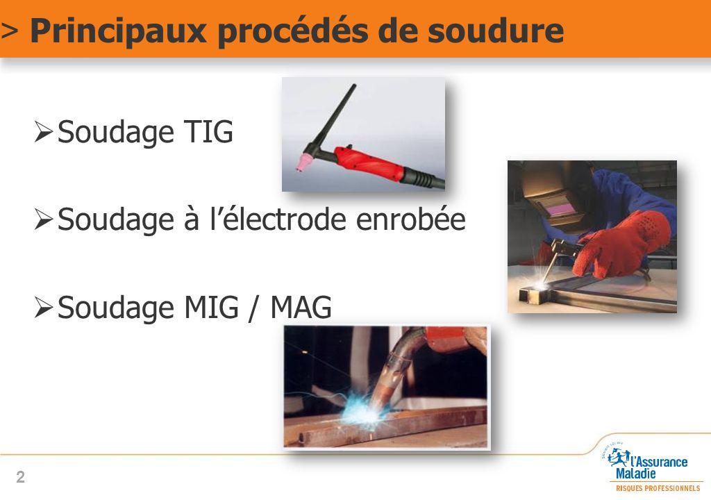 > Principaux procédés de soudure  Soudage TIG  Soudage à l'électrode enrobée  Soudage MIG / MAG 2
