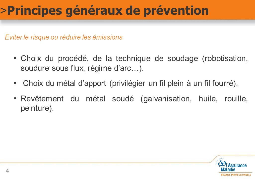 Eviter le risque ou réduire les émissions Choix du procédé, de la technique de soudage (robotisation, soudure sous flux, régime d'arc…). Choix du méta