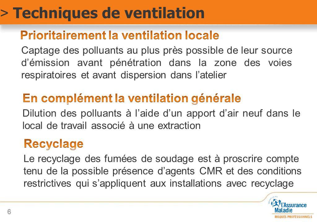 Les 9 principes de ventilation Envelopper au maximum la zone de production des polluants Capter au plus près de la zone d'émission Placer le dispositif d'aspiration de manière que l'opérateur ne soit pas entre celui-ci et la source de pollution Utiliser les mouvements naturels des polluants Induire une vitesse d'air suffisante Répartir uniformément les vitesses d'air au niveau de la zone de captage Compenser les sorties d'air par des entrées d'air correspondantes Eviter les courants d'air et les sensations d'inconfort thermique Rejeter l'air pollué en dehors des zones d'entrée d'air neuf > Techniques de ventilation 7