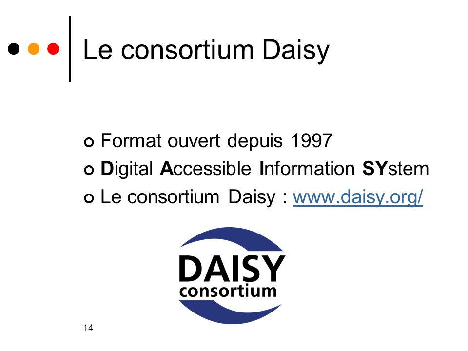 14 Le consortium Daisy Format ouvert depuis 1997 Digital Accessible Information SYstem Le consortium Daisy : www.daisy.org/www.daisy.org/