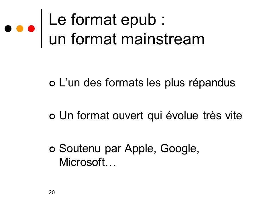 20 Le format epub : un format mainstream L'un des formats les plus répandus Un format ouvert qui évolue très vite Soutenu par Apple, Google, Microsoft
